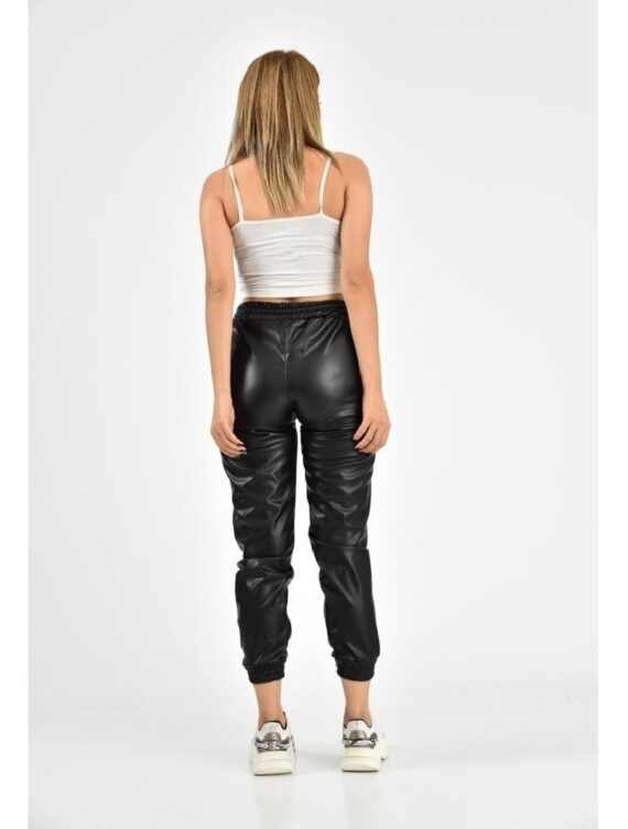 Pantaloni Dama Piele Negri Snur