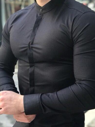 Camasa Barbati Neagra cu guler tunica