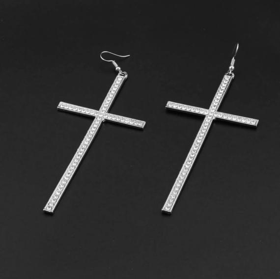Cercei statement argintii Cruce