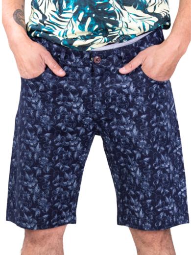 Pantaloni Scurti Barbati Bleumarine Flowers